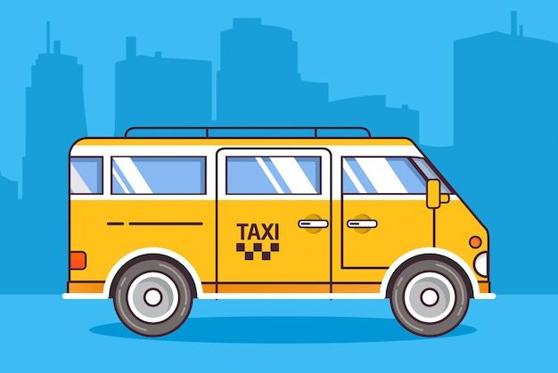 Miasto żółty taxi minivan samochód.