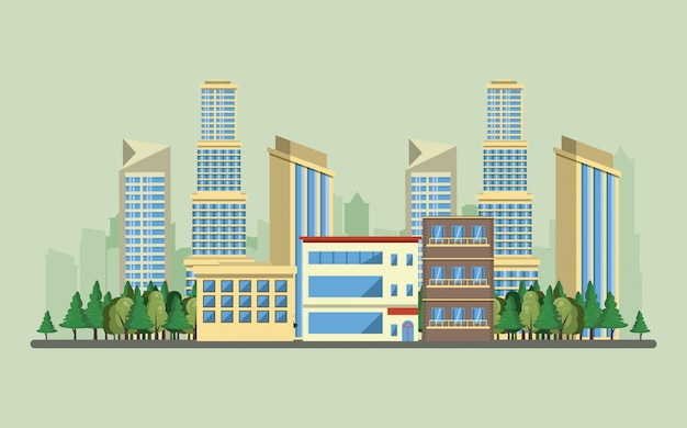 Miastowe budynki z pejzaż miejski scenerią
