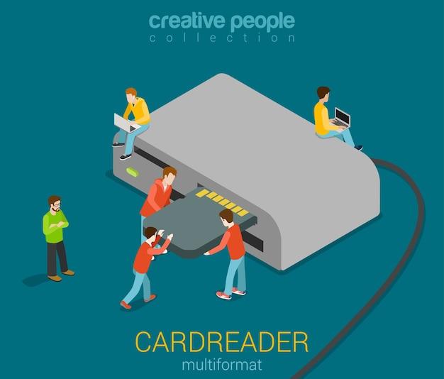 Micro ludzie wkładają kartę sd do czytnika kart usb nowoczesnej ilustracji