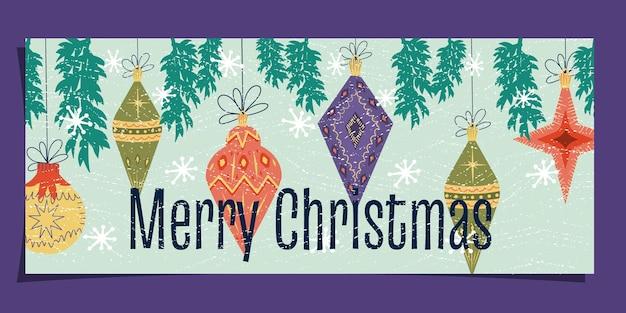 Midcentury art nouveau na kartce świątecznej tekst wesołych świąt z zabawkami na drzewie płatkami śniegu
