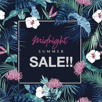 Midnight summer sale z tropikalnymi liśćmi i kwiatami