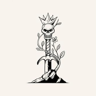 Miecz króla czaszki ilustracja vintage design