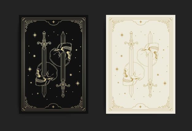 Miecz przez czaszkę ozdobioną luksusowymi złotymi gwiazdami