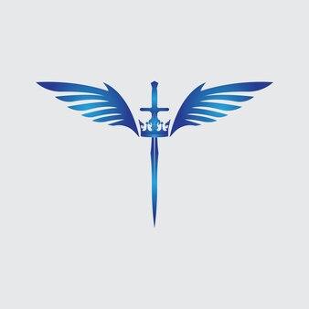 Miecz ze skrzydłami i grafika wektorowa króla
