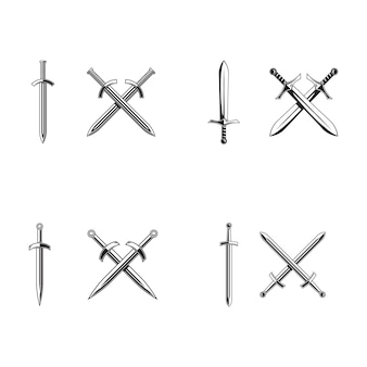 Miecze rycerza na białym tle. miecze sylwetki. ilustracja wektorowa