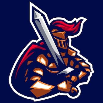 Miecznik rycerz starożytnego logo maskotka cesarza