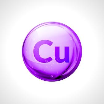 Miedź mineralna izolowana miedzią. kropla pigułki symbol chemiczny zdrowia.