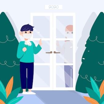 Między drzwiami stoi mężczyzna w masce rozmawiający z kobietą.