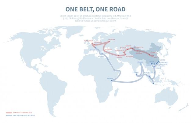 Międzynarodowa droga tranzytowa w azji i europie. chiński transport nowej jedwabnej drogi. eksportuj i importuj mapę globu ścieżki