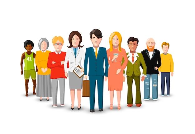 Międzynarodowa grupa ludzi, płaskie ilustracja na białym tle