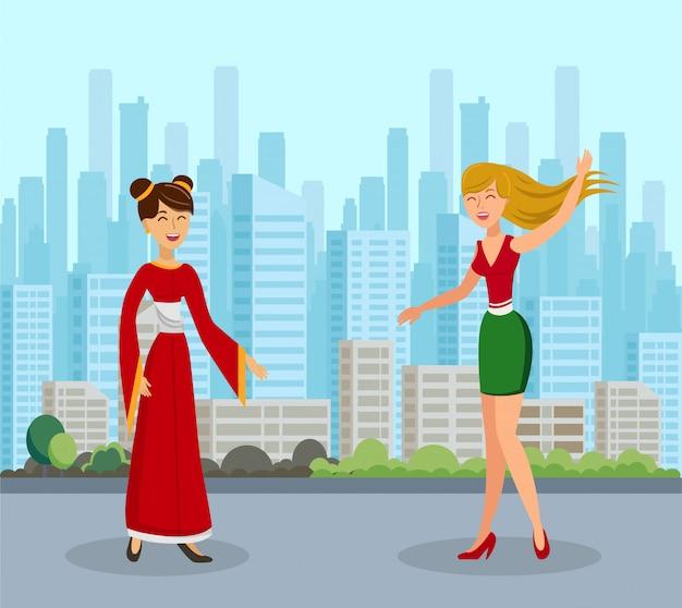 Międzynarodowa ilustracja przyjaźni kobiet