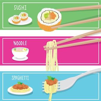 Międzynarodowa karmowa suszi kluski spaghetti kreskówka