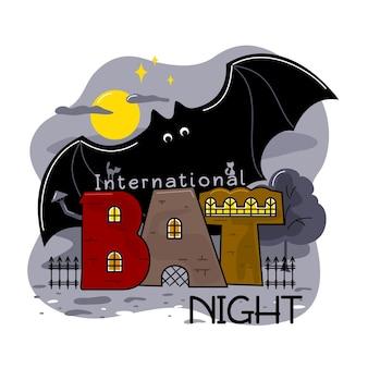 """Międzynarodowa noc nietoperzy. litery """"bat"""" są narysowane w formie domów, a nad nimi gigantyczny nietoperz."""
