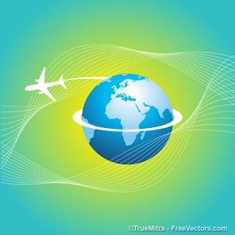 Międzynarodowa podróż samolotem dookoła świata wektora