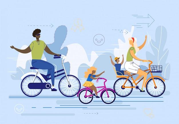 Międzynarodowa rodzina, para z dziećmi jeździ na rowerach.