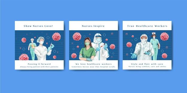 Międzynarodowe banery dnia pielęgniarek ustawione w stylu przypominającym akwarele