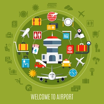 Międzynarodowe lotnisko wita pasażerów podróżujących samolotem płaski plakat reklamowy z dostępnymi symbolami usług na zielonym tle