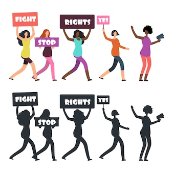Międzynarodowe protestujące kobiety idące na manifestację. feminizm, prawa kobiet i koncepcja wektora protestu. ilustracja sylwetka kobiet protestujących