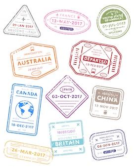 Międzynarodowe znaczki wizy podróżnej.