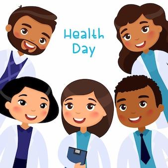Międzynarodowi lekarze w strojach medycznych uśmiechnięty