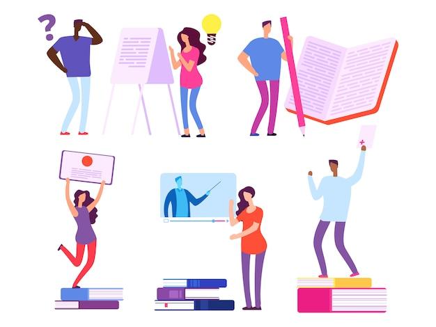 Międzynarodowi ludzie, ucznie dostają edukację od książek i online kursów wektoru ilustraci