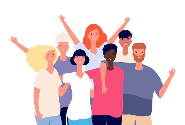 Międzynarodowi przyjaciele. przyjaźń wieloetniczna, grupa szczęśliwych młodych ludzi.