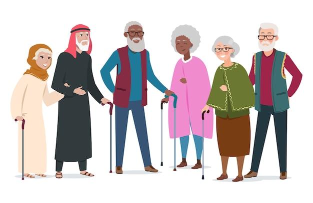 Międzynarodowi szczęśliwi starzy ludzie. ilustracja w podeszłym wieku afroamerikanów, muzułmanów i rasy kaukaskiej