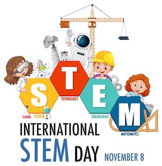 Międzynarodowy baner dnia stem z postacią z kreskówek dla dzieci
