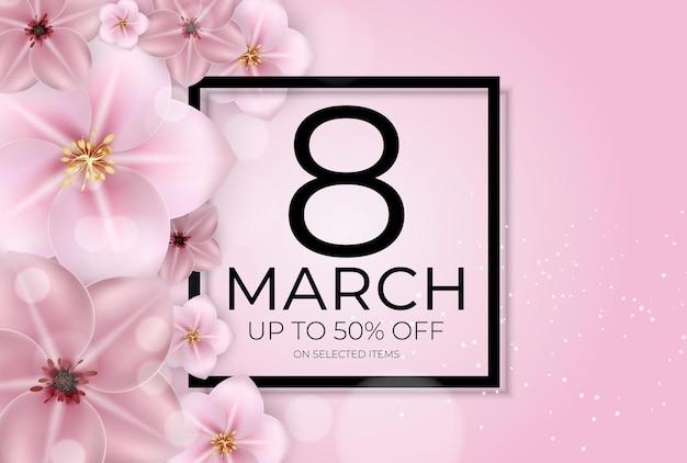 Międzynarodowy baner sprzedaży szczęśliwy dzień kobiet 8 marca.