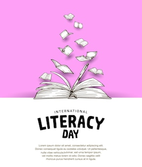 Międzynarodowy dzień alfabetyzacji z otwartą książką i latającą książką w różowym tle