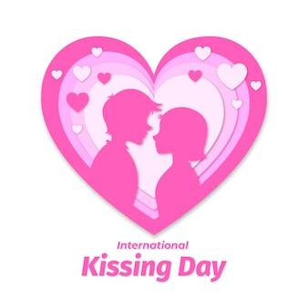 Międzynarodowy dzień całowania ilustracja w stylu papieru