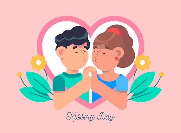 Międzynarodowy dzień całowania ilustracja z para całuje