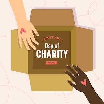 Międzynarodowy dzień charytatywny w płaskiej konstrukcji