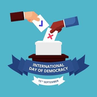 Międzynarodowy dzień demokracji płaska konstrukcja tła