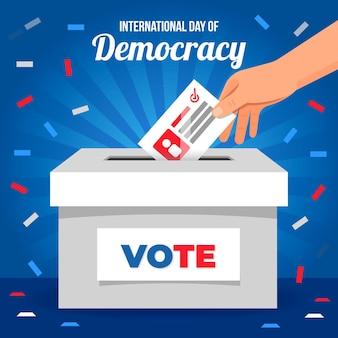 Międzynarodowy dzień demokracji tło płaska konstrukcja