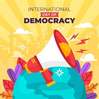 Międzynarodowy dzień demokracji z megafonem