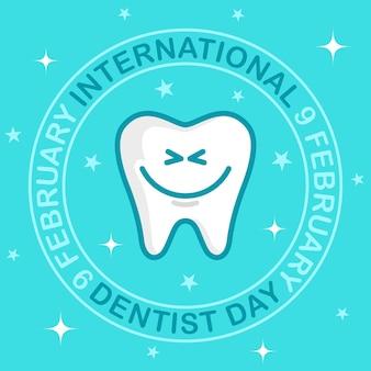 Międzynarodowy dzień dentysty. biały ząb z uroczym uśmiechem