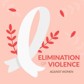 Międzynarodowy dzień eliminacji przemocy wobec kobiet wstążka z rośliną