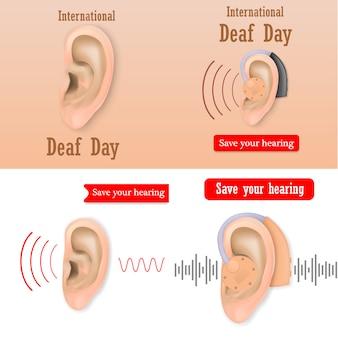 Międzynarodowy dzień głuchych usłyszeć zestaw koncepcji banerów świata