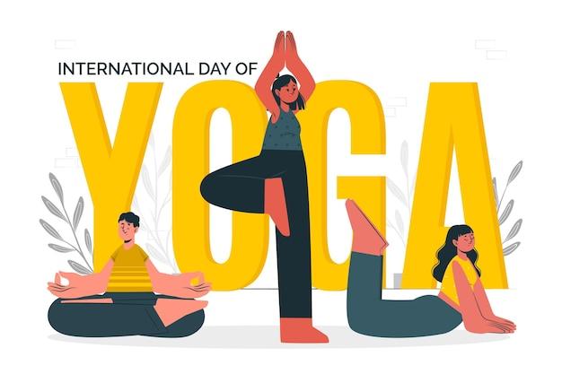 Międzynarodowy dzień ilustracji koncepcji jogi