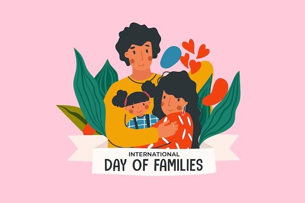 Międzynarodowy dzień ilustrowany tematem rodzin