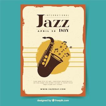 Międzynarodowy dzień jazzowy plakat w stylu vintage