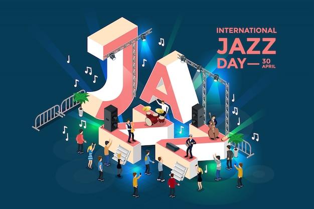 Międzynarodowy dzień jazzu. izometryczne ilustracji. . ludzie na koncercie jazzowym.