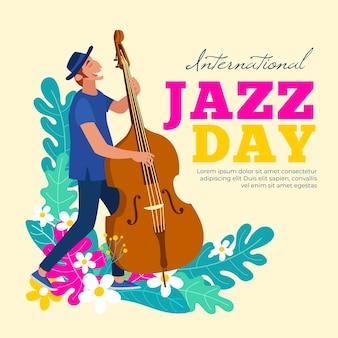 Międzynarodowy dzień jazzu z mężczyzną grającym na basie