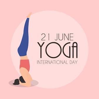 Międzynarodowy dzień jogi 21 czerwca tło. ilustracja