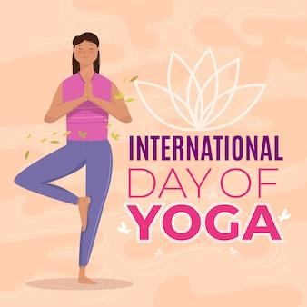 Międzynarodowy dzień jogi ilustracja koncepcja