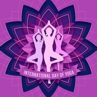 Międzynarodowy dzień jogi ilustracja w stylu papieru