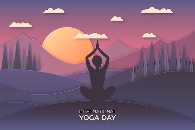 Międzynarodowy dzień jogi ilustracji w stylu papieru