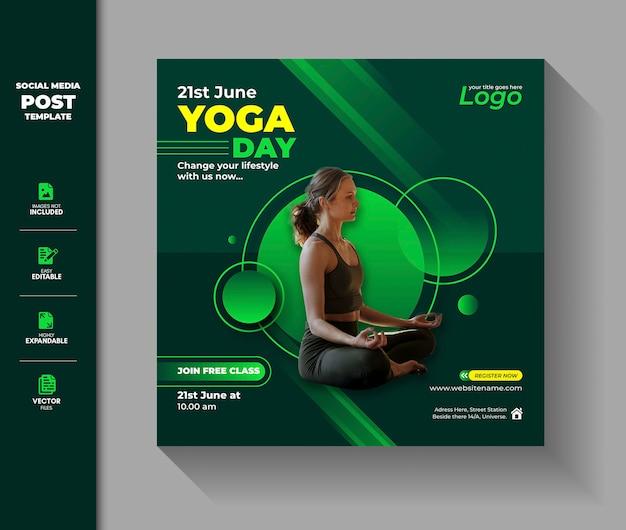 Międzynarodowy dzień jogi media społecznościowe post instagram square banner