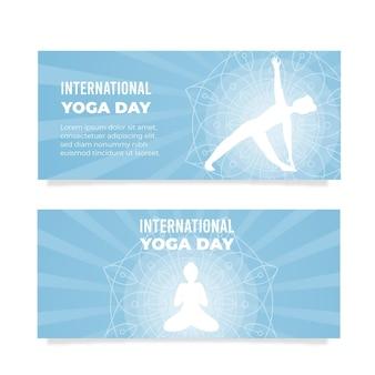 Międzynarodowy dzień jogi poziome bannery